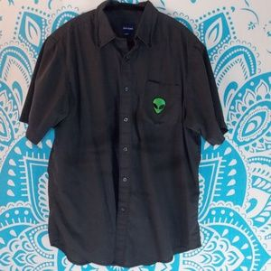 Alien Patch Button Down Casual Large L Casual Grey